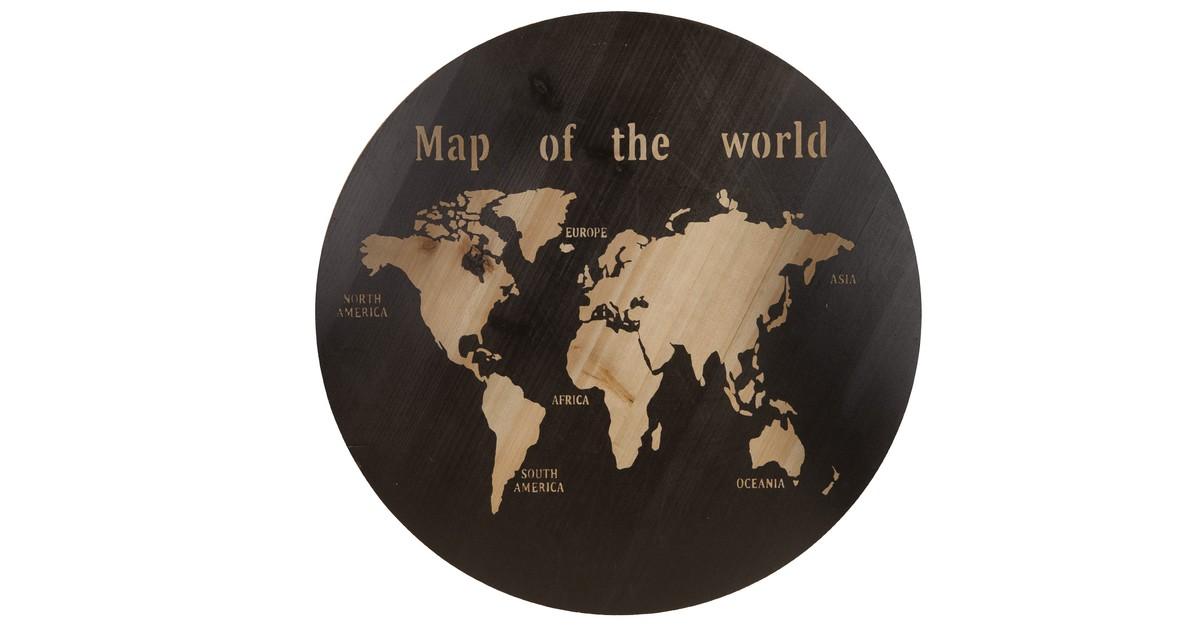 Cozy Ibiza - Wereldkaart hout rond
