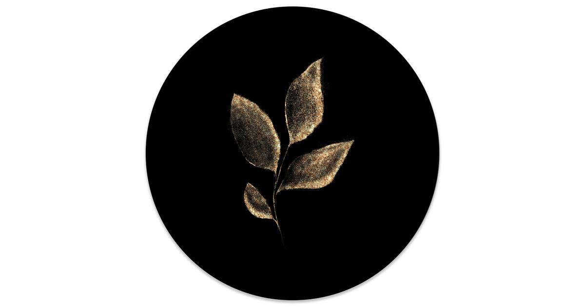 Muurcirkel klein Leaf gold black - Ø 30 cm