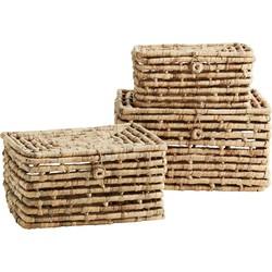 Madam Stoltz opbergbox set riet/zeegras naturel 43x32x25