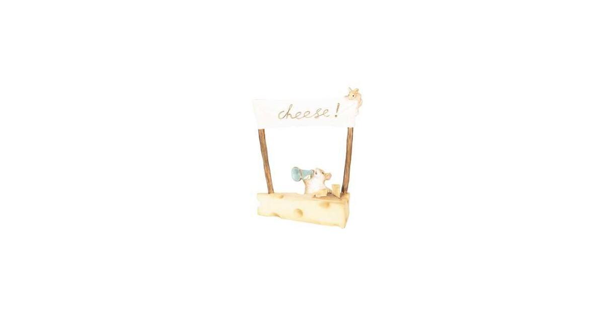 Clayre & Eef Decoratie Beeld Muis 12*7*14 cm Geel Polyresin Decoratief Figuur Decoratieve Accessoires