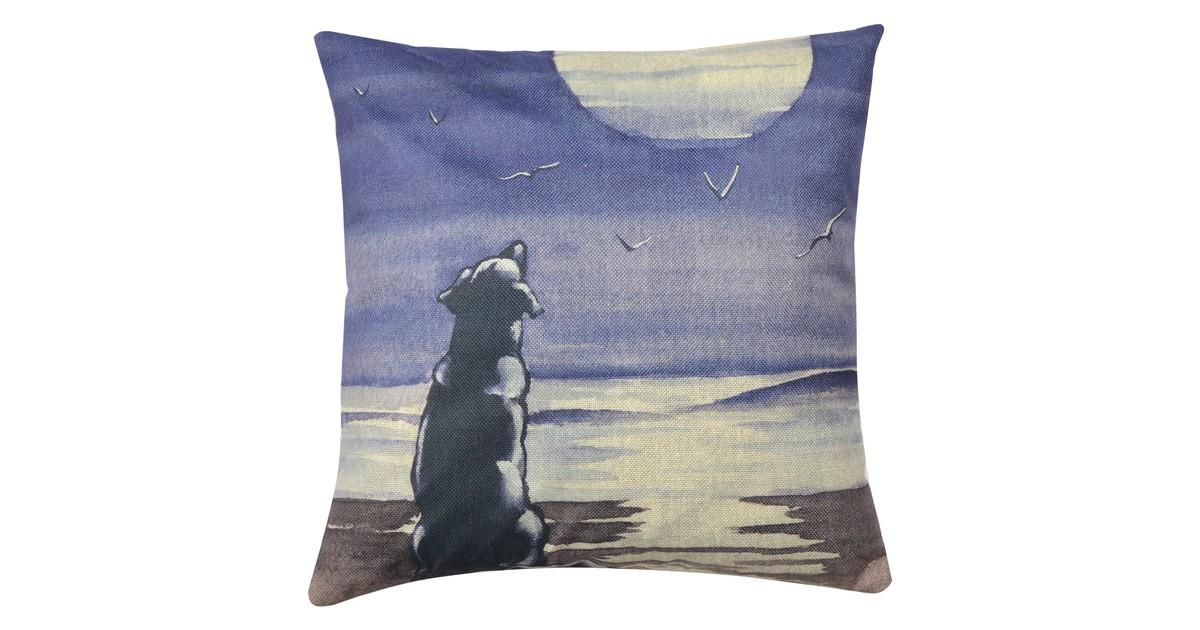Clayre & Eef Kussenhoes KT021.241 43*43 cm Blauw, Grijs, Beige Polyester Vierkant Hond Sierkussenhoes