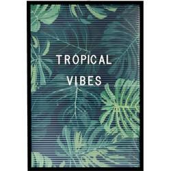 Dresz Letterbord Inclusief 292 Witte letters Nummers, Symbolen, 3 Trendy Posters en 2 Bevestigingshaken Leuke Woondecoratie, 31 x 46 cm, Tropical Thema