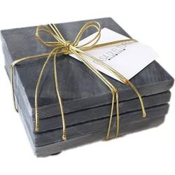 Marmeren onderzetters Marble Coaster Grijs - Zwart - 4 stuks