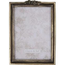 Fotolijst | 15*2*20 cm / 13*18 cm | Goudkleurig | Polyresin / glas | Rechthoekig | Bloemen | Clayre & Eef | 2F0678