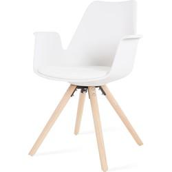 Dion kunststof eetkamerstoel - Met armleuning - Wit