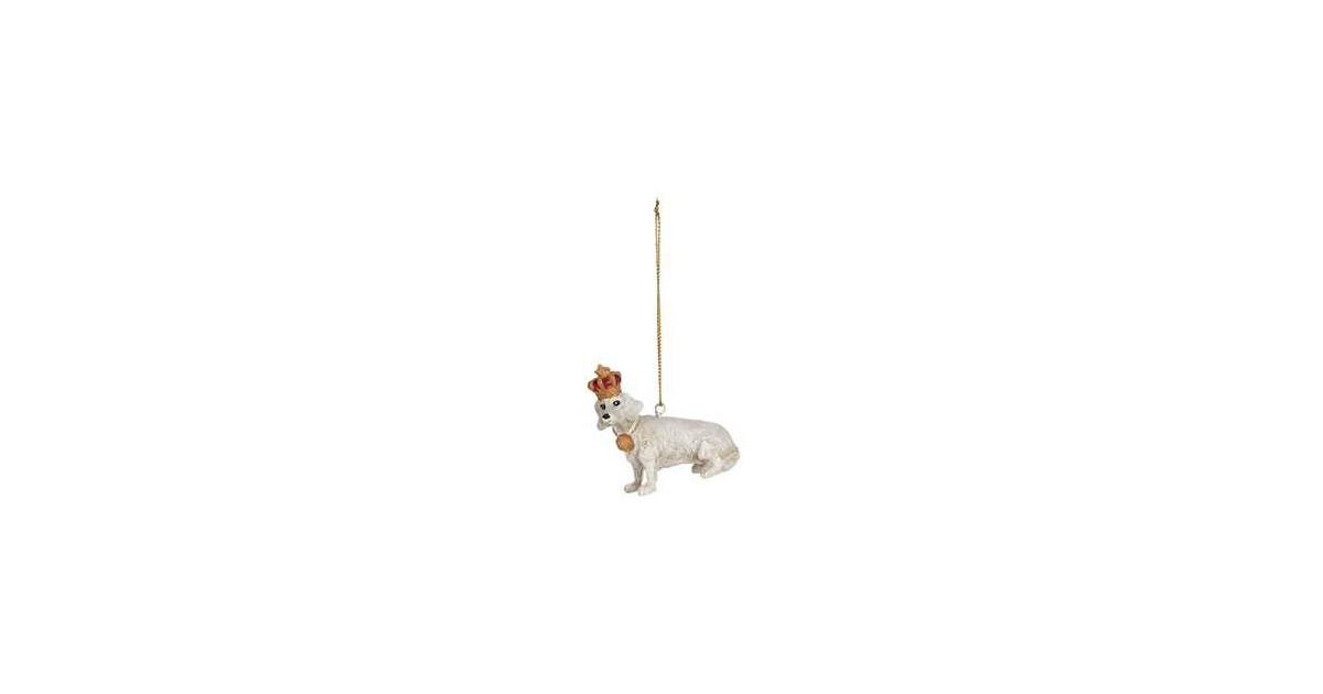 Clayre & Eef Decoratie Beeld Hond 7*3*7 cm Wit Polyresin Decoratief Figuur Decoratieve Accessoires