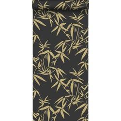 Origin behang bamboe bladeren zwart en goud