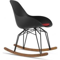 Kubikoff Diamond Dimple Closed Rocking Chair - Zwart Onderstel - Walnoot Slices - Zwarte Zitting