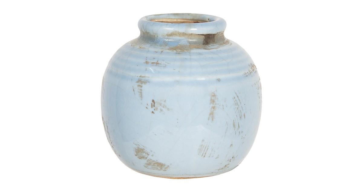 Clayre & Eef Vaas - Ø 8*8 cm - blauw - keramiek - rond -  - 6CE1215