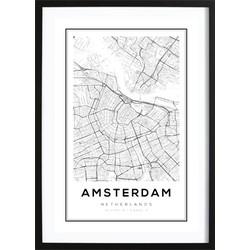 Amsterdam Kaart Poster (21x29,7cm)