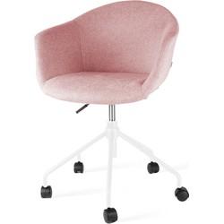 Nout bureaustoel wit - Zacht roze gestoffeerde zitting met armleuningen