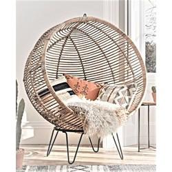 Ronde rotan stoel,rotan relax bal met stalen standaard en kussens (hangend en staand)