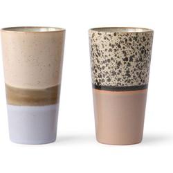 Hkliving ceramic 70's latte macchiato mokken 2 stuks