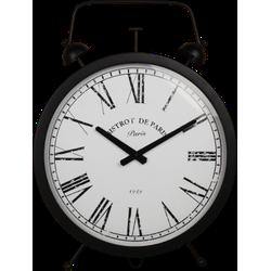 Klok Wekker - zwart - ijzer/glas