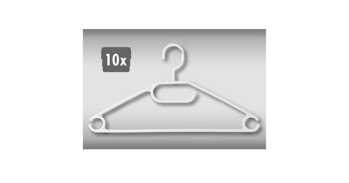 Decopatent 10 Stuks - Kledinghangers - Wit - Broeklat - Kunststof klerenhanger - Broekhanger - Kleur: Wit - Pak van 10 Stuks