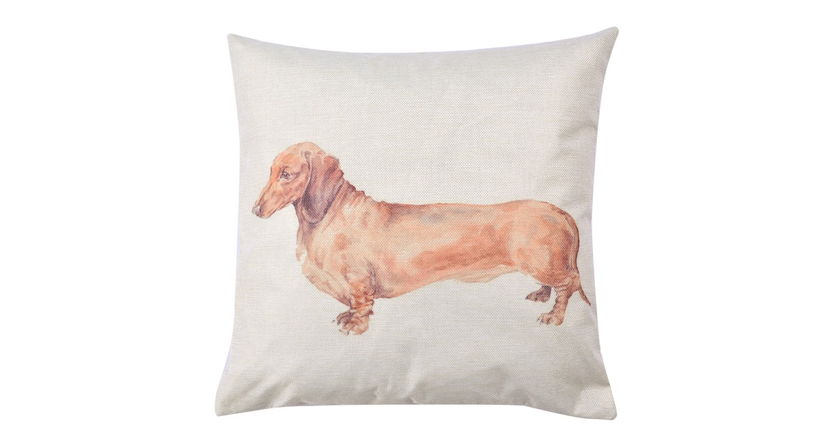Clayre & Eef Kussenhoes KT021.246 43*43 cm Wit, Bruin Polyester Vierkant Hond Sierkussenhoes