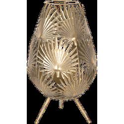 Clayre & Eef - lantaarn Ø 35*53 cm - goudkleurig - metaal - rond - bladeren - 6Y3344