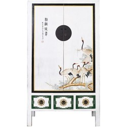 Fine Asianliving Fine Asianliving Antieke Chinese Bruidskast Handbeschilderde Kraanvogels Wit