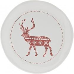 Clayre & Eef - bord Ø 20x3 cm - rood - aardewerk - rond - rendier - 6CE0841
