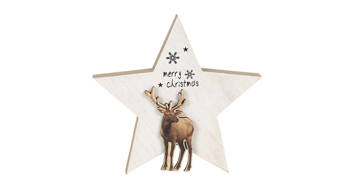 Clayre & Eef Kerstdecoratie Ster 15*2*14 cm Wit Hout Decoratief Figuur Decoratieve Accessoires