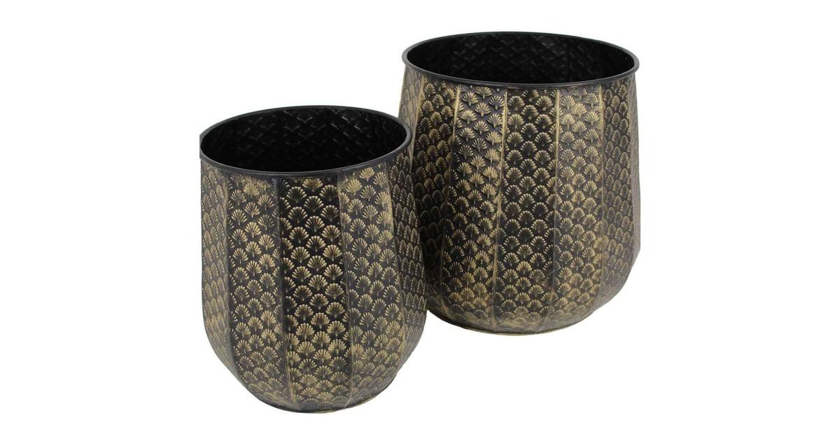 SVJ Bloempotten Set van 2 stuks metaal goud zwart - H 32.5 x Ø 35 cm