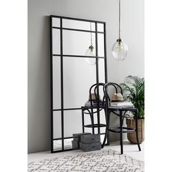 Nordal wandspiegel met stalen frame groot zwart 204cm x 102cm
