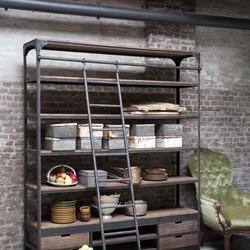 Rootsmann Industriele boekenkast met ladder