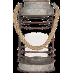 Clayre & Eef - lantaarn Ø 16*30 cm - wit - zink - rond - 6Y3675