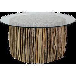 Salontafel met glasplaat - drijfhout