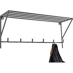 LOFT42 Hook Kapstok Met Hoedenplank - Metaal - Mat Zwart - 30x70x20
