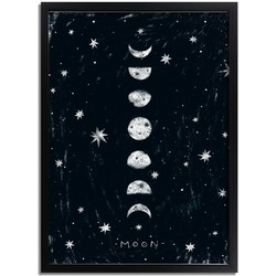 Kinderkamer poster Maan DesignClaud - Planeten serie - Zwart wit- A3 + Fotolijst zwart