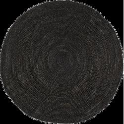 Rond jute vloerkleed Zwart/Antraciet 160cm - Mrcarpet