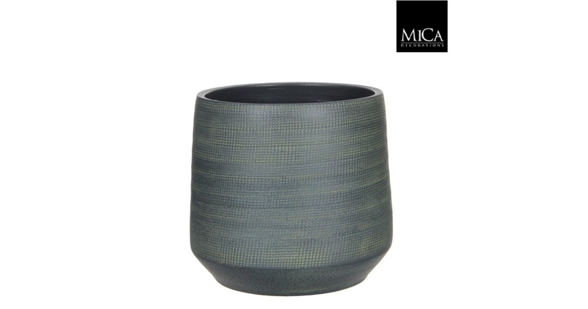 Guido pot rond donkergroen h26xd29 cm Mica Decorations