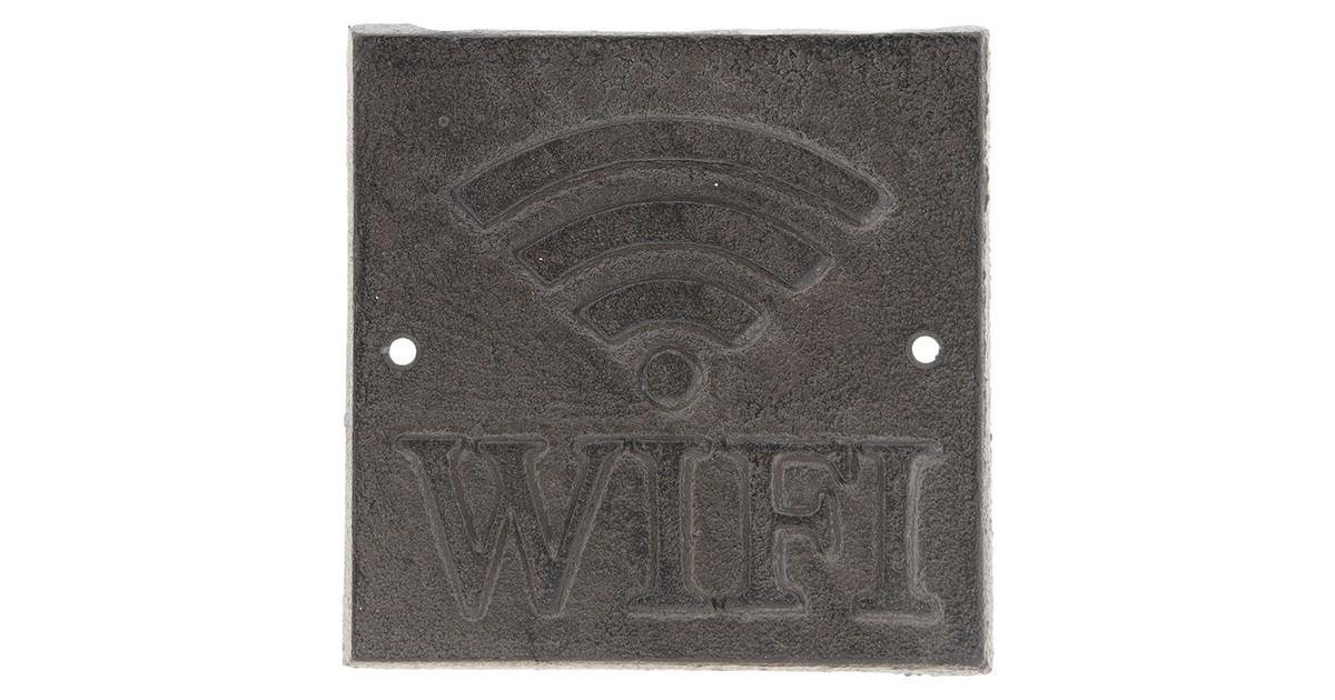 Tekstbord WIFI   13*13*1 cm   Bruin   Ijzer   Clayre & Eef   6Y3014