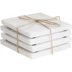 Marmeren onderzetters Marble Coaster Wit - 4 stuks