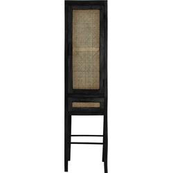 Wandkast Nipas - Zwart hout/Rotan Naturel - 45 x 40 x 180 cm