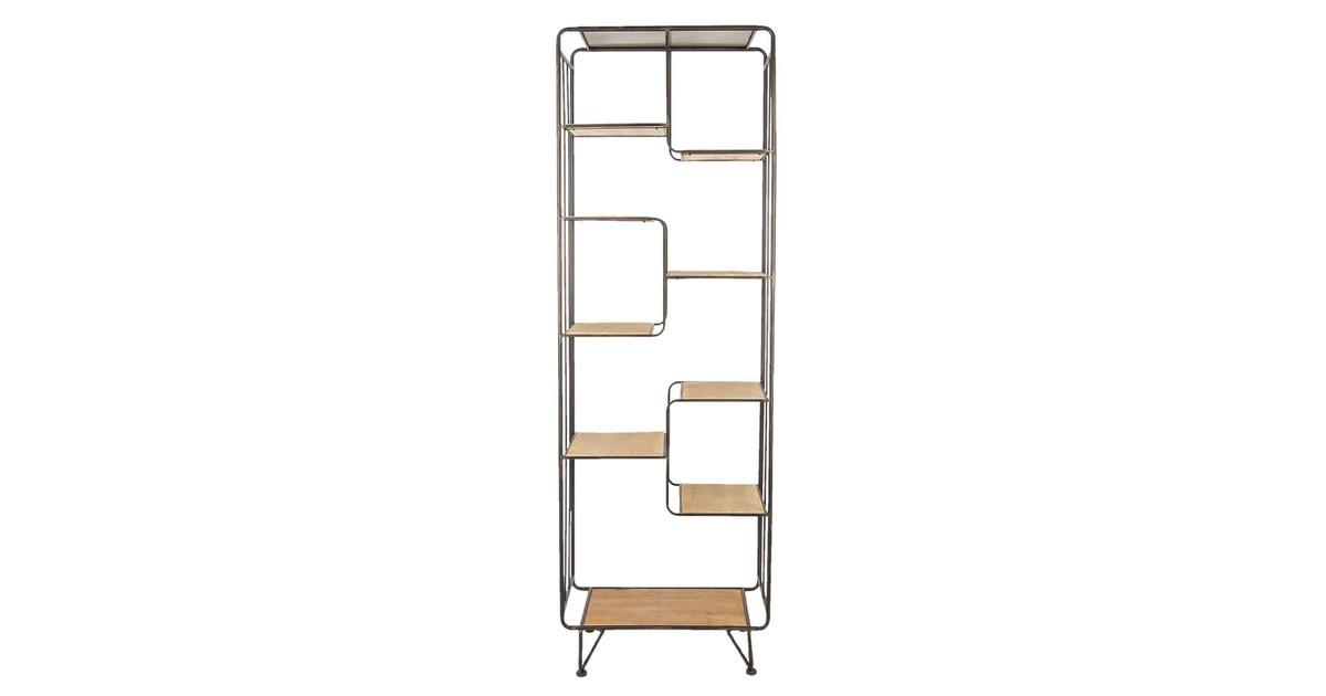 Vakkenkast | 60*35*182 cm | Bruin | Hout / ijzer | rechthoek | staand | Clayre & Eef | 50367