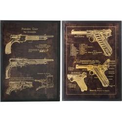 schilderij set guns 80 x 60,5