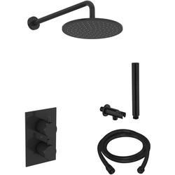 Saniclear Rea inbouw regendouche met muur arm hoofddouche 30cm mat zwart