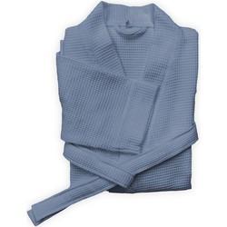 Badjas Wafel lang steel blue - 100% Katoen