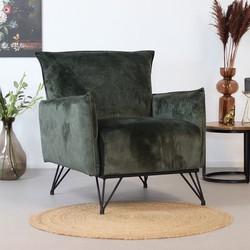 Moderne fauteuil Mika luxury groen velvet