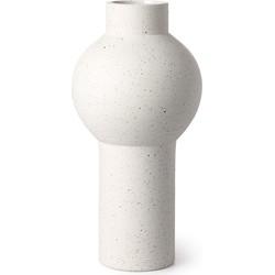 HKliving vaas wit gespikkeld aardewerk rond medium 15x15x30,5cm