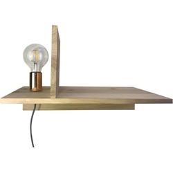 Houten Boekenplank met Lamp-45x25x28cm-met gouden fitting-Housevitamin