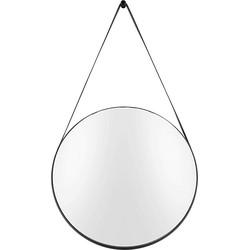 pt, Balanced Spiegel Rond Staal/Leer Ø47 cm - Zwart