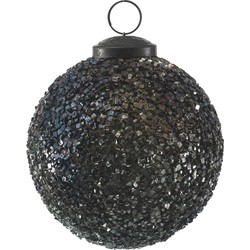 Kerstbal Mosa - blauw glitter - 10x10x10cm - PTMD