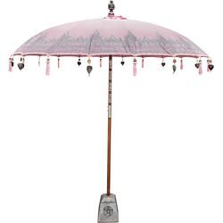 Todo Bien Bali parasol roze met half zilveren beschildering 180 cm