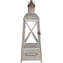 Lantaarn | 20*20*56 cm | Wit | Zink | Piramide | Clayre & Eef | 6Y3682