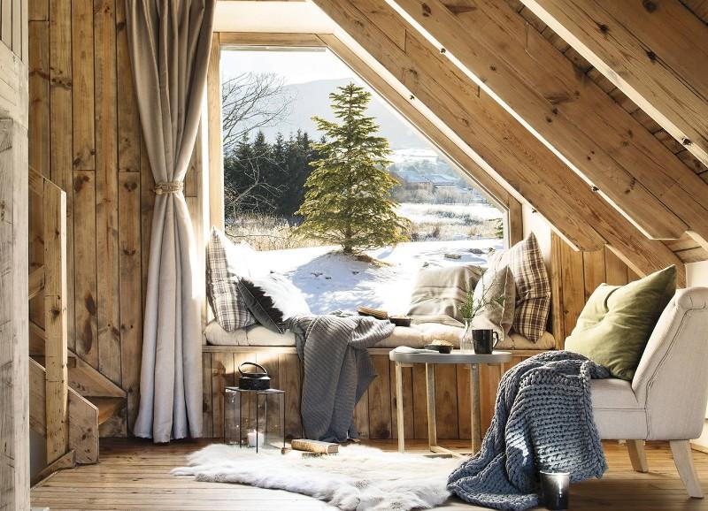 Binnenkijken in een knus houten huis in een vallei
