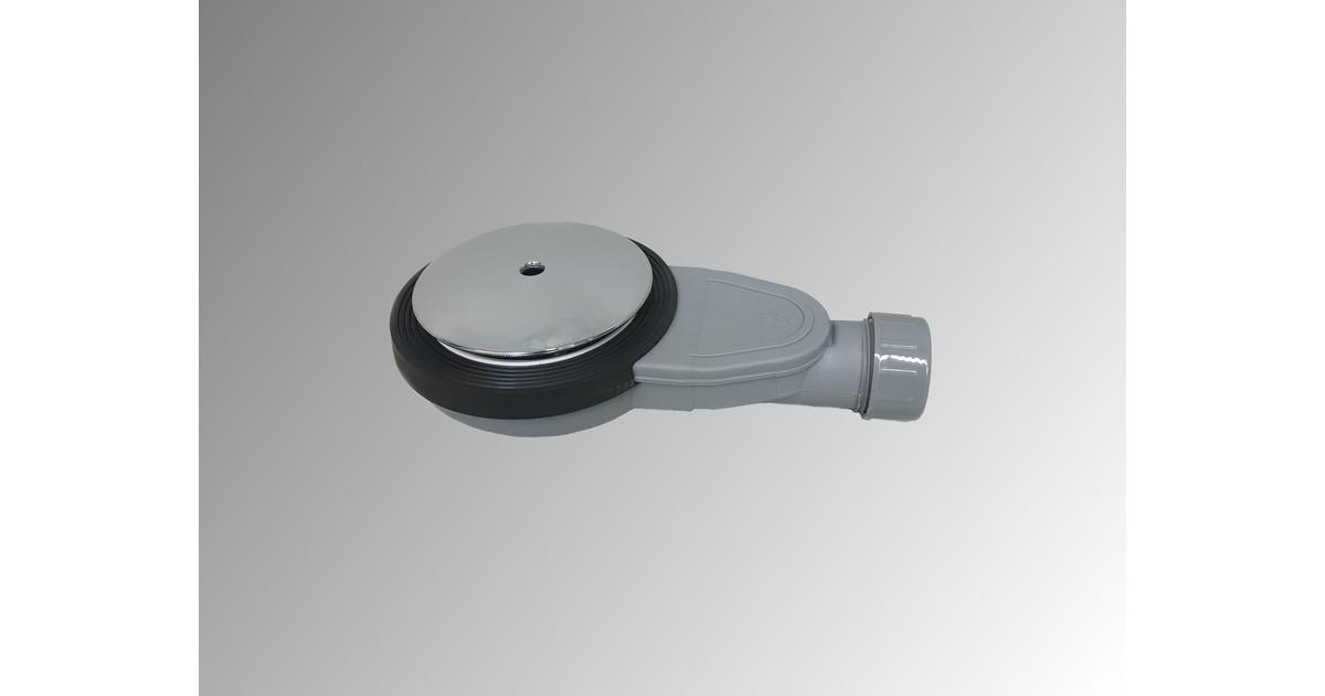 Douchebakkenopmaat.nl Extra plat douchebak sifon Slim inbouwhoogte 40mm met afdekplaat en zeefje voor gatmaat 90mm