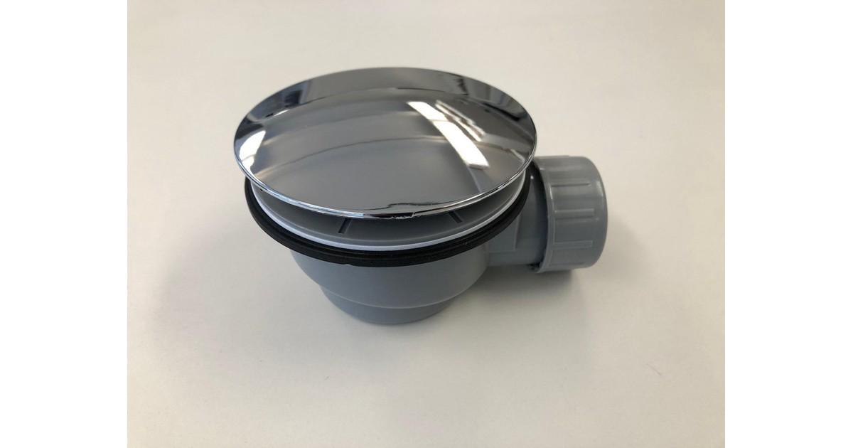 Douchebakkenopmaat.nl Plat douchebak sifon inbouwhoogte 60mm met afdekplaat chroom